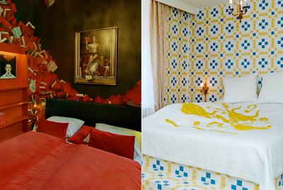 Dos habitaciones del hotel Fox, obra de Nicola Carter y Luise Vormittag (izquierda) y Friendswithyou.