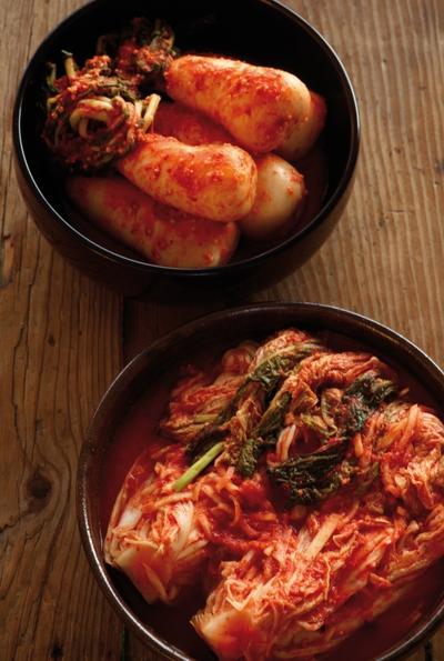 Plato con 'kimchi rojo'.