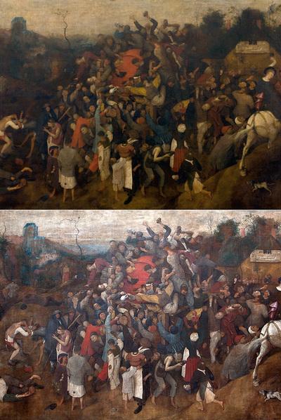 El cuadro llegó al Prado en un estado muy deteriorado (arriba). Tras casi dos años de trabajo, la pieza ha recobrado su esplendor.
