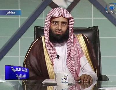 El jeque saudí Abdulaziz al Fwazan, durante una charla televisiva.