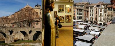 De izquierda a derecha, tres imágenes de Vic: puente románico junto a la puerta de Queralt, interior del Museo Episcopal y puestos en la plaza del Mercadal.