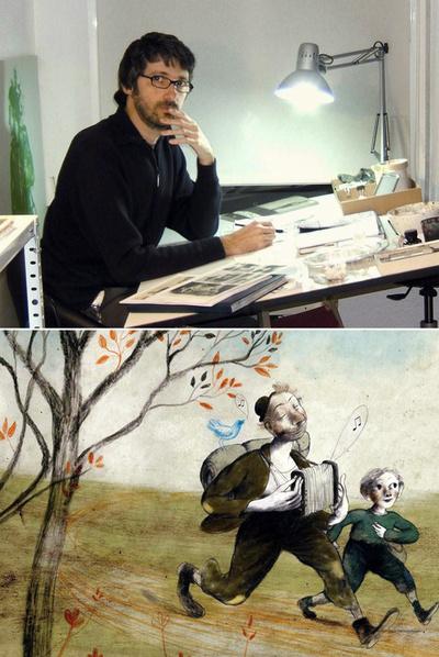 Arriba, Pablo Auladell en su estudio. Abajo, una de sus ilustraciones para  Rasmus y el vagabundo , un clásico infantil de Astrid Lindgren.