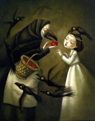 Ilustraciones del francés Benjamin Lacombe e imágenes de sus álbumes  Blancanieves  (Hermanos Grimm),