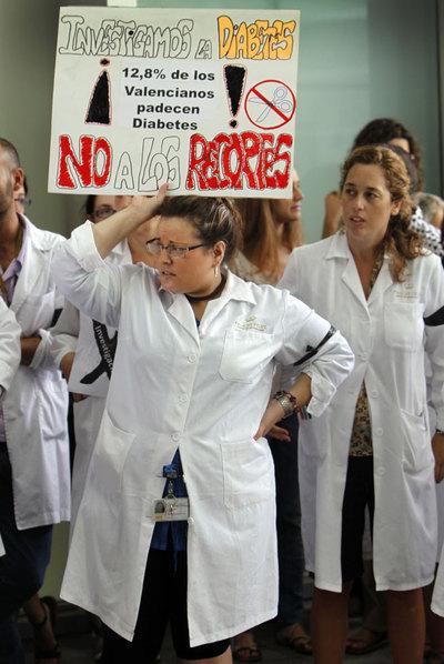 Protesta de investigadores valencianos, el pasado septiembre.