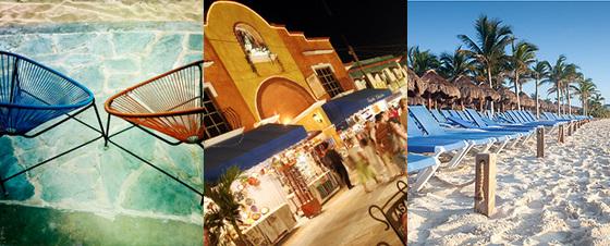 De izquierda a derecha, sillas Acapulco en el club de playa Caníbal Royal, bullicio en la Quinta Avenida y el famoso arenal de Playa del Carmen.