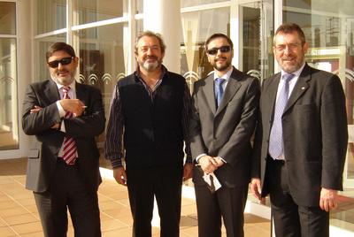 De izquierda a derecha, Guerrero, exdirector de Trabajo; Lanzas, exdirigente de UGT; Mellet, exdirector de Mercasevilla, y Rivas, exdelegado de Empleo de Sevilla. Los cuatro están imputados en el caso de los ERE y Mercasevilla.