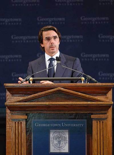 José María Aznar, en su presentación en Georgetown (EE UU) en 2004.