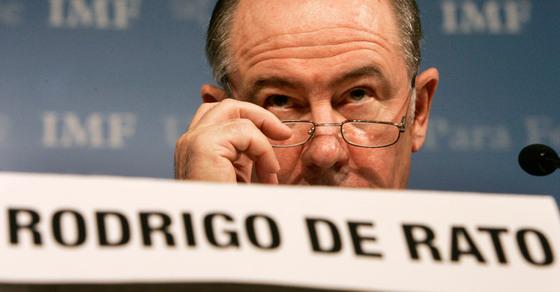 Rodrigo Rato, durante su etapa como presidente del FMI en una conferencia de prensa en Washington (Estados Unidos).