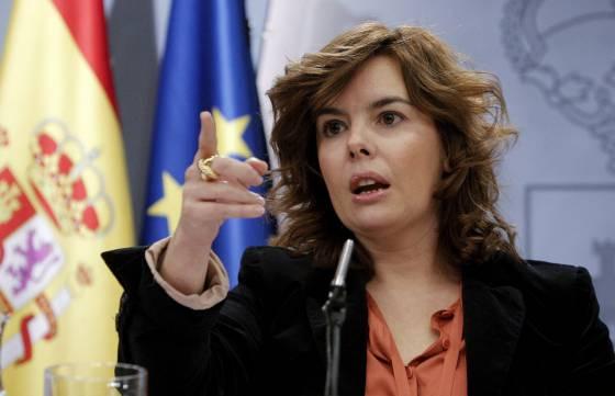 Soraya Saénz de Santamaría durante la rueda de prensa del Consejo de Ministros