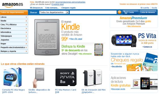Página web de Amazon.