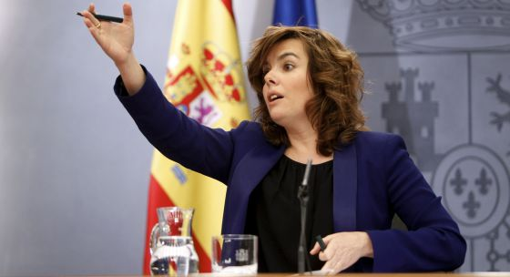 La vicepresidenta, Soraya Sáenz de Santamaría, tras el Consejo de Ministros.