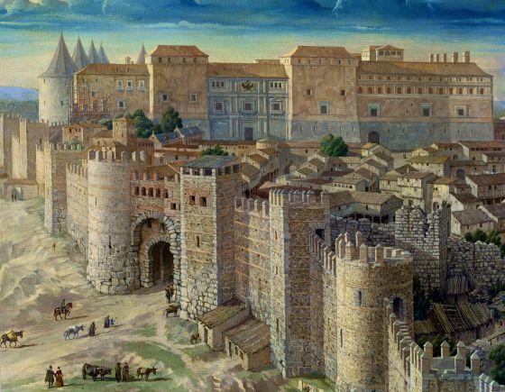 Detalle de Madrid en 1561. vista del real Alcázar de lso Austrias, residencia de Felipe II en Madrid rn