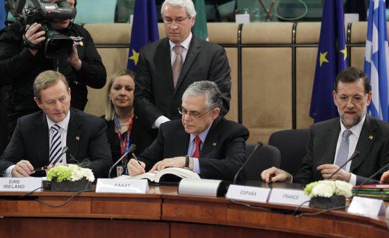 El primer ministro griego este viernes en la cumbre europea.