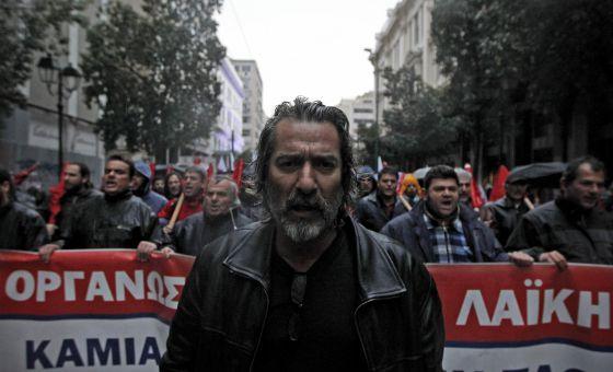 Manifestación en Atenas contra los recortes el 22 de febrero
