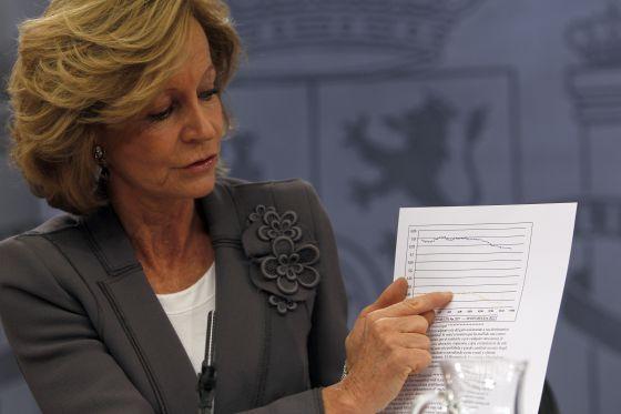 Elena Salgado, exvicepresidenta del Gobierno, en una rueda de prensa posterior al Consejo de Ministros.