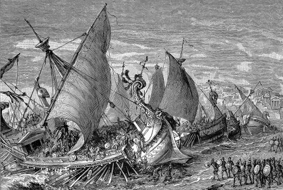 Batalla naval en el puerto de Siracusa (Sicilia), donde los espartanos derrotaron a los atenienses durante la segunda guerra del Peloponeso.
