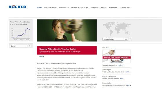 Imagen de la página web de Rücker AG.