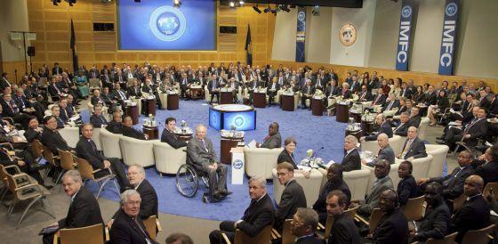 Asistentes a la asamblea de primavera del FMI y la reunión ministerial de Finanzas del G-20.