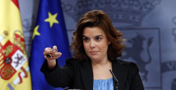 Soraya Sáenz de Santamaría, durante la rueda de prensa posterior a la reunión de ayer del Consejo de Ministros