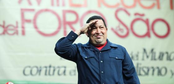 Chávez en el acto de clausura del Foro de Sao Paulo en Caracas.