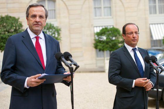 El presidente francés, François Hollande, ayer junto el líder griego, Antonis Samarás.