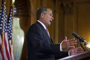El presidente de la Cámara de Representantes de EE.UU., John Boehner, el pasado 7 de noviembre, en una rueda de prensa luego de hablar con el gobernante Barack Obama, en Washington (EE.UU.).