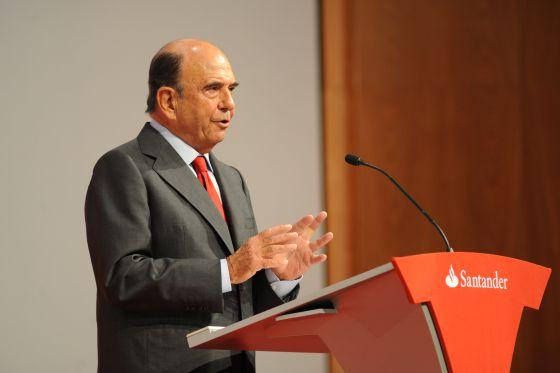 Emilio Botín, presidente del Banco Santander, en la V Conferencia Internacional de Banca en la ciudad financiera de Boadilla del Monte (Madrid).