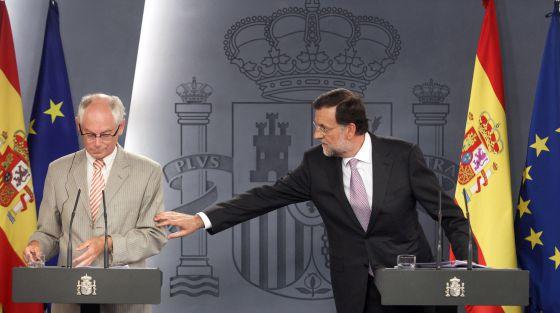 Mariano Rajoy y el presidente del Consejo Europeo, Herman van Rompuy, en La Moncloa.