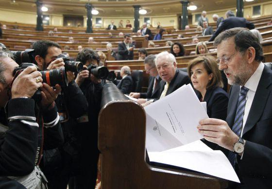 El presidente del Gobierno, Mariano Rajoy, durante la sesión de control al Ejecutivo celebrada miércoles en el Congreso de los Diputados.