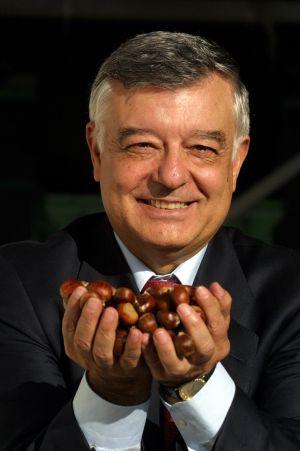 José Posada enseña castañas de su empresa.