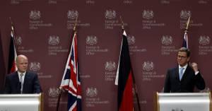 El ministro británico de Exteriores William Hague (i) y su homólogo alemán Guido Westerwelle (d), en una rueda de prensa. EFEArchivo