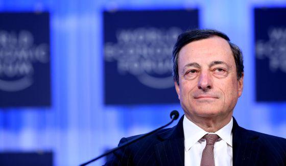 El presidente del BCE, Mario Draghi, en la reunión del Foro Económico Mundial en Davos.