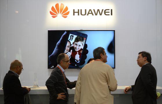 Mostrador de Huawei en una feria de tecnología en Las Vegas (EE UU)