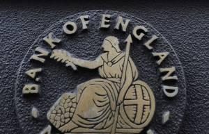 Logo del banco de Inglaterra en Londres.