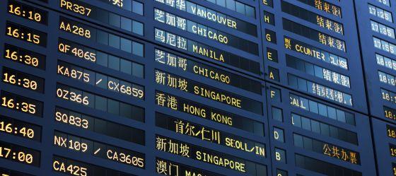 Panel informativo en el aeropuerto de Shanghai.