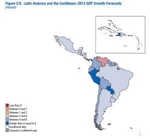 Mapa del FMI sobre las perspectivas de crecimiento de la región en términos de PIB.