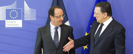 François Hollande junto a Durão Barroso.