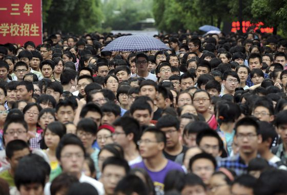 Estudiantes en la ciudad china de Hefei