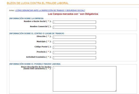 Portal del Ministerio de Empleo para las denuncias anónimas.