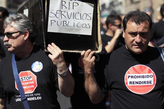 Protesta funcionarios en Madrid.