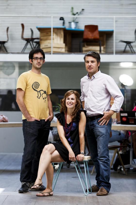 Pablo Gavilán, Blanca Arregui y Vicent Rosso, en Impact Hub Madrid (De izquierda a derecha).