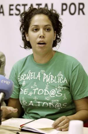 La secretaria general del Sindicato de Estudiantes, Ana García, durante una rueda de prensa. EFEArchivo