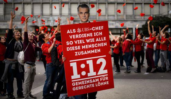 Acto en favor de la iniciativa 1:12 en Zurich