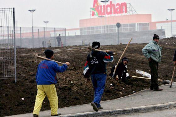 Trabajadores rumanos de la construcción, en Francia.