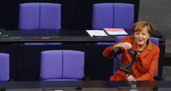 La canciller Angela Merkel, en el Bundestag.