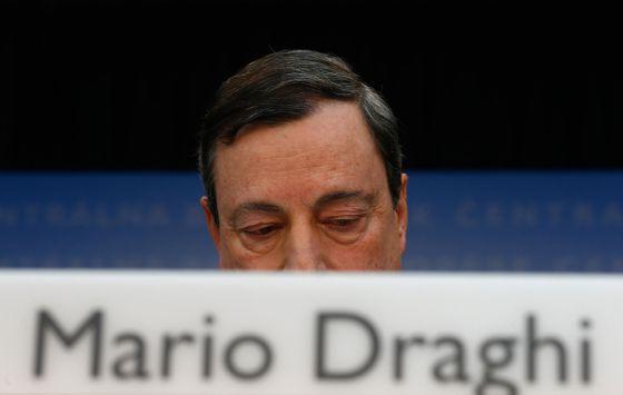 El presidente del Banco Central Europeo, Mario Draghi, durante una rueda de prensa en la sede de la entidad en Fráncfort (Alemania).