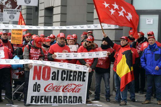 Protesta de trabajadores de Coca-Cola en Madrid.