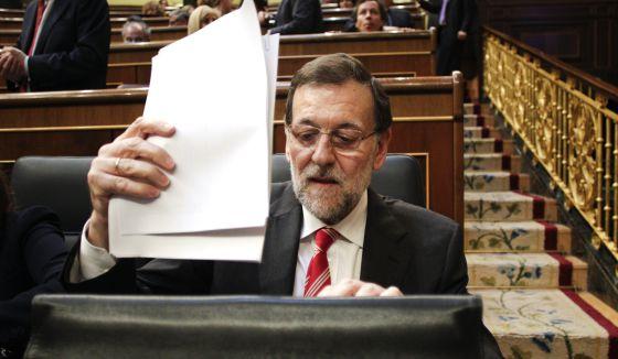 El presidente Mariano Rajoy en el Congreso