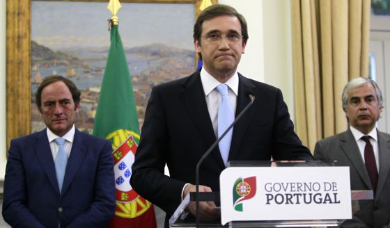 """El primer ministro de Portugal, Pedro Passos Coelho, en el momento en que anuncia la salida """"limpia"""" del rescate"""