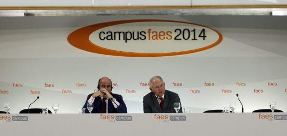 Wolfgang Schäuble y Luis de Guindos este lunes en el Campus FAES 2014.